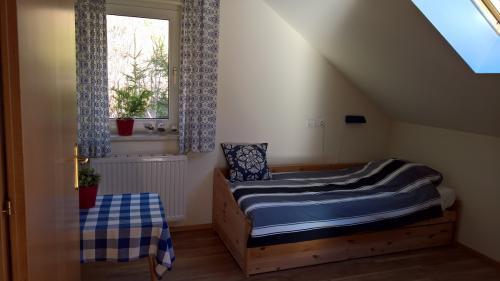 Slaapkamer 1 zolder, met onderschuifbed